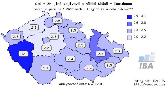 Výskyt ZN nádorů jiné pojivové a měkké tkáně v jednotlivých krajích ČR