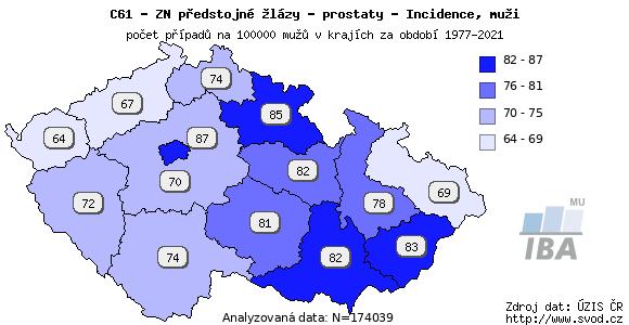 Výskyt nádorů prostaty v jednotlivých krajích ČR